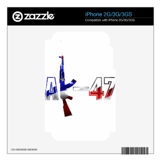 AK-47 AKM Assault Rifle Logo Red White And Blue pn Skin For The iPhone 2G