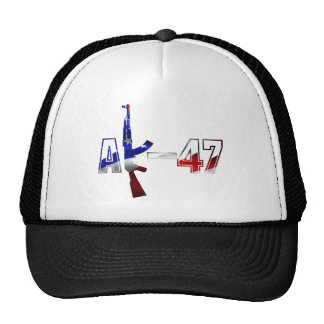 AK-47 AKM Assault Rifle Logo Red White And Blue.pn Trucker Hat
