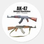 AK-47 History Avtomat Kalashnikova Assault Rifles Round Stickers