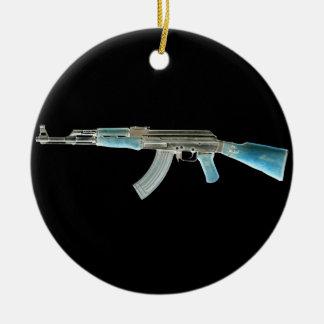 AK-47 Negative Blue Ceramic Ornament
