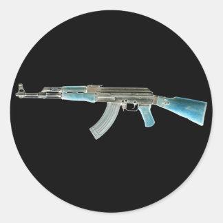 AK-47 Negative Blue Classic Round Sticker