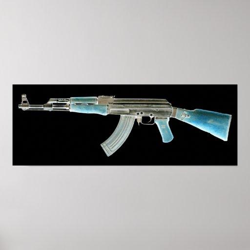 AK-47 Negative Blue Print