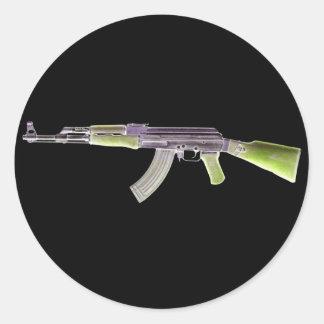 AK-47 Negative Green Classic Round Sticker