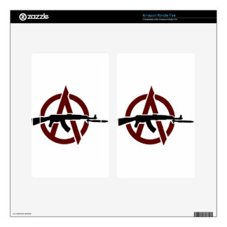 AK 47 Red Circle-A Anarchy! Cover Kindle Fire Skin