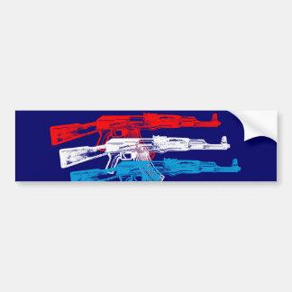 AK 47, Red, White and Blue Bumper Sticker