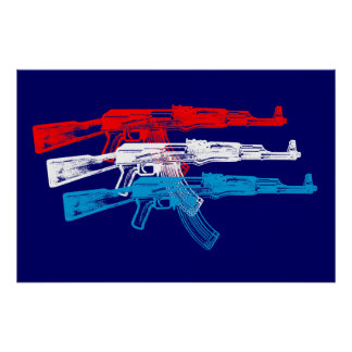 AK 47, Red, White and Blue Poster