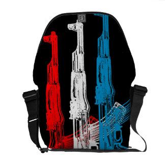 AK 47, rojo, blanco y azul Bolsas De Mensajeria