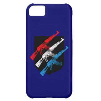 AK 47, rojo, blanco y azul