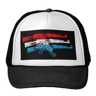 AK 47, rojo, blanco y azul Gorros
