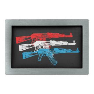 AK 47, rojo, blanco y azul Hebillas Cinturón Rectangulares
