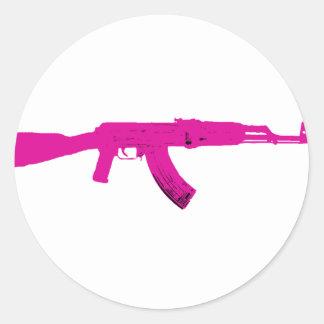 AK-47 rosado Pegatina Redonda