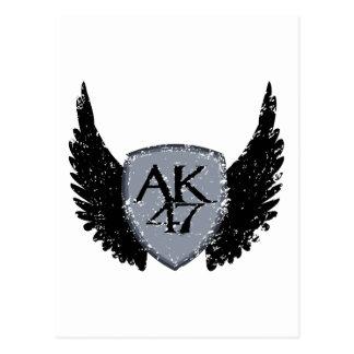 AK 47 Shield and Wings Postcard