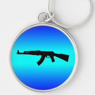 AK-47 Silhouette Silver-Colored Round Keychain