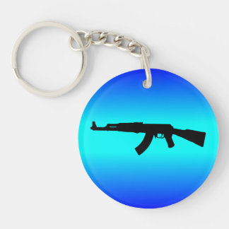 AK-47 Silhouette Double-Sided Round Acrylic Keychain