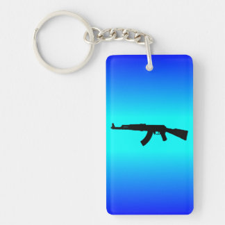AK-47 Silhouette Double-Sided Rectangular Acrylic Keychain