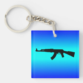AK-47 Silhouette Double-Sided Square Acrylic Keychain