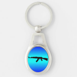 AK-47 Silhouette Silver-Colored Oval Keychain