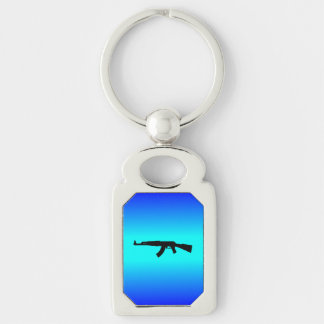 AK-47 Silhouette Silver-Colored Rectangle Keychain