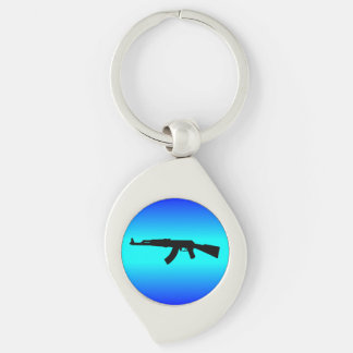 AK-47 Silhouette Silver-Colored Swirl Keychain