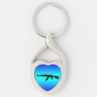 AK-47 Silhouette Silver-Colored Twisted Heart Keychain