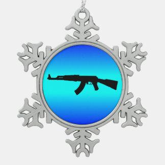 AK-47 Silhouette Snowflake Pewter Christmas Ornament