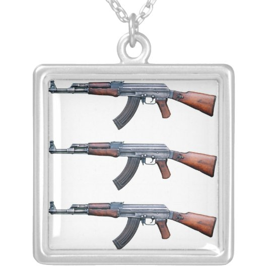 AK-47 SILVER PLATED NECKLACE