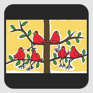 AK- Cardinal Birds in a Tree Folk Art Design Square Sticker