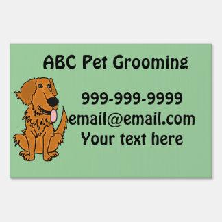 AK- Custom Pet Grooming Golden Retriever Yard Sign
