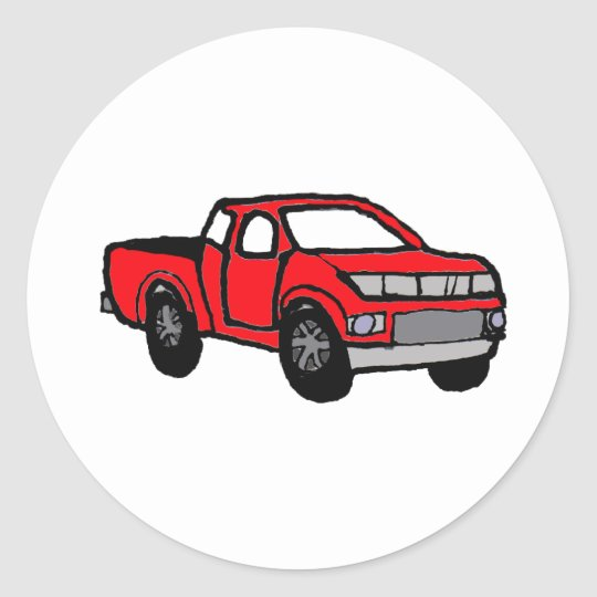 AK- Fun Red Pickup Truck Design Classic Round Sticker