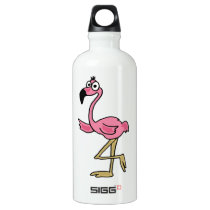 AK- Funny Pink Flamingo Aluminum Water Bottle