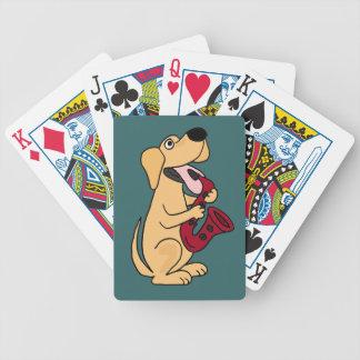 AK- Labrador amarillo que juega tarjetas del saxof Cartas De Juego