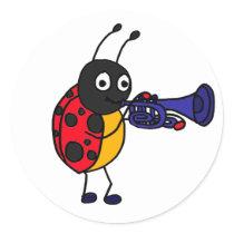 AK- Ladybug Playing Trumpet Cartoon Classic Round Sticker