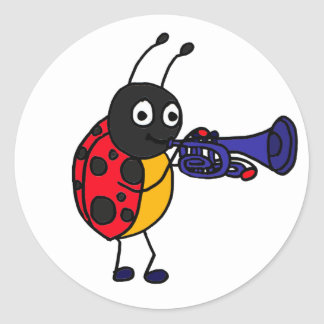 AK- Ladybug Playing Trumpet Cartoon Classic Round Sticker