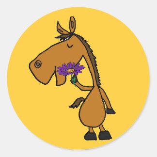 AK- pegatinas del caballo y de la margarita de la Etiqueta Redonda
