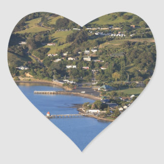 Akaroa Harbour scenic French village Heart Sticker