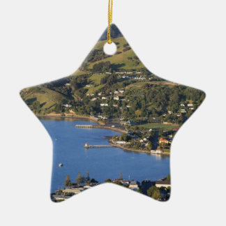 Akaroa Harbour scenic French village Double-Sided Star Ceramic Christmas Ornament