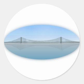 Akashi Kaikyo Suspension Bridge: aka Pearl Bridge Classic Round Sticker