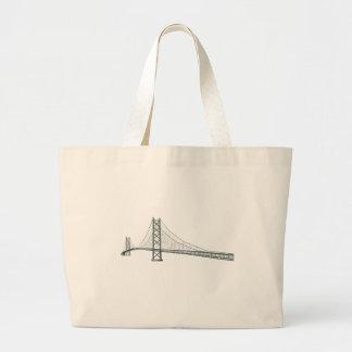 Akashi Kaikyo Suspension Bridge: aka Pearl Bridge Large Tote Bag