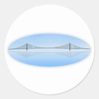 Akashi Kaikyo Suspension Bridge: aka Pearl Bridge Round Sticker
