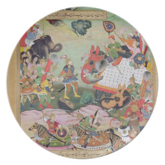 Akbar receiving the drums and standards captured f melamine plate