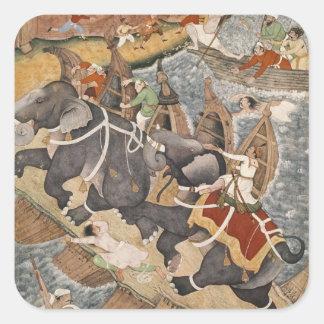 Akbar Tames the Savage Elephant, Hawa'i Square Sticker