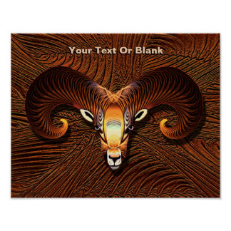 Akedah - Fractal Ram's Head Poster