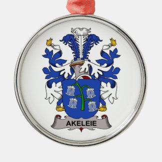 Akeleie Family Crest Round Metal Christmas Ornament