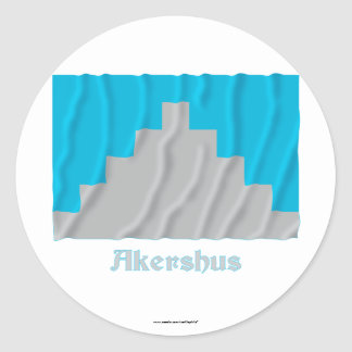Akershus waving flag with name classic round sticker