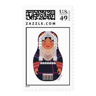 Akha Girl Of Thailand Matryoshka Stamps