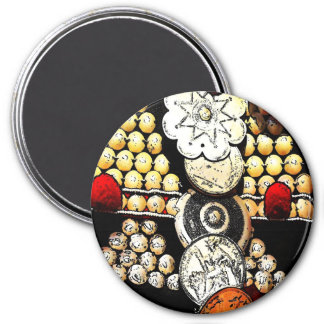 Akha Hill Tribe Headdress 3 Inch Round Magnet