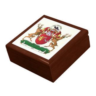 Akins coat of arms ceramic tile keepsake box
