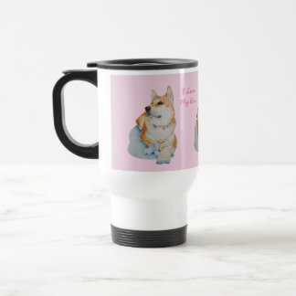 akita and teddy bear portrait original realist art travel mug