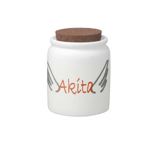Akita: Angel Wings treat jar Candy Dishes