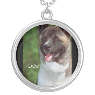Akita Art Silver Plated Necklace